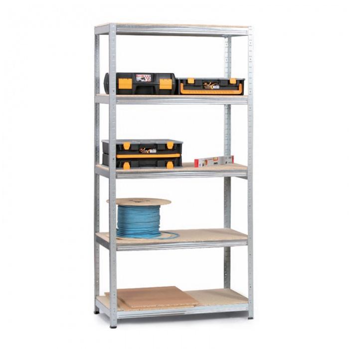 Regál s dřevotřískovými policemi 1800 x 1200 x 450 mm, 5 polic, 200 kg