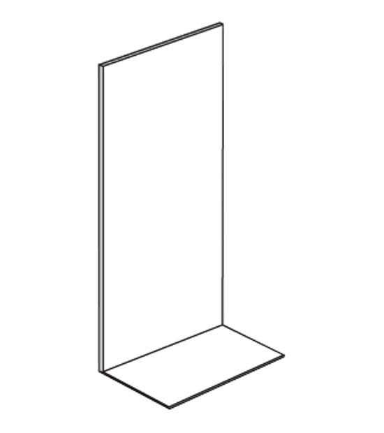Prodejní regál jednostranný, plné stěny, 1600x1000x500 mm, přídavný