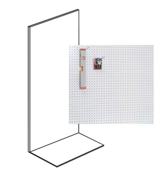 Prodejní regál jednostranný, perfo stěny, 1600x1000x500 mm, přídavný