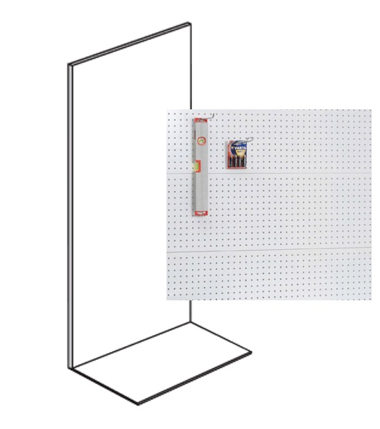 Prodejní regál jednostranný, perfo stěny, 2200x1000x400 mm, přídavný