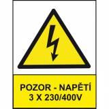 Pozor - napětí 3 x 230/400V