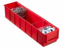 Plastový regálový box ShelfBox, 91 x 400 x 81 mm, červený