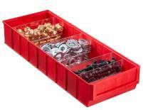 Plastový regálový box ShelfBox, 183 x 500 x 81 mm, červený