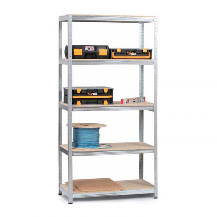 Regál s dřevotřískovými policemi 1800x750x350 mm, 5 polic, 350 kg