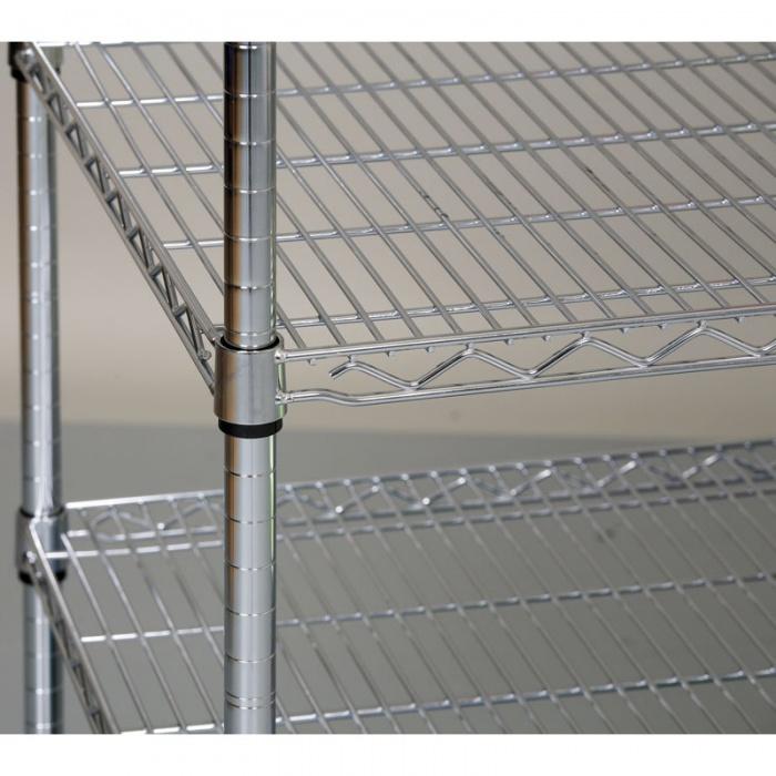 Chromovaný regál s drátěnými policemi, 1500x900x350 mm