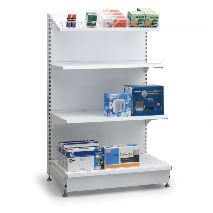 Prodejní regál oboustranný, plné stěny, 1600x1000x400 mm, základní