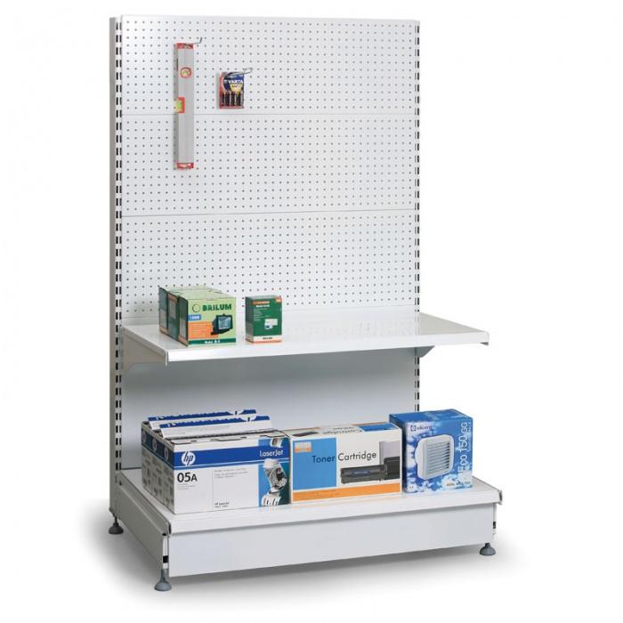 Prodejní regál oboustranný, perfo stěny, 1600x1000x500 mm, přídavný